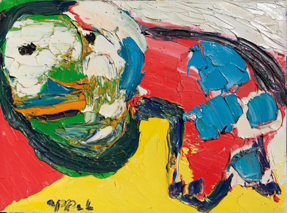 Karel Appel, 'Omkijkend dier', olieverf op doek, 30 cm x 40 cm, 1976
