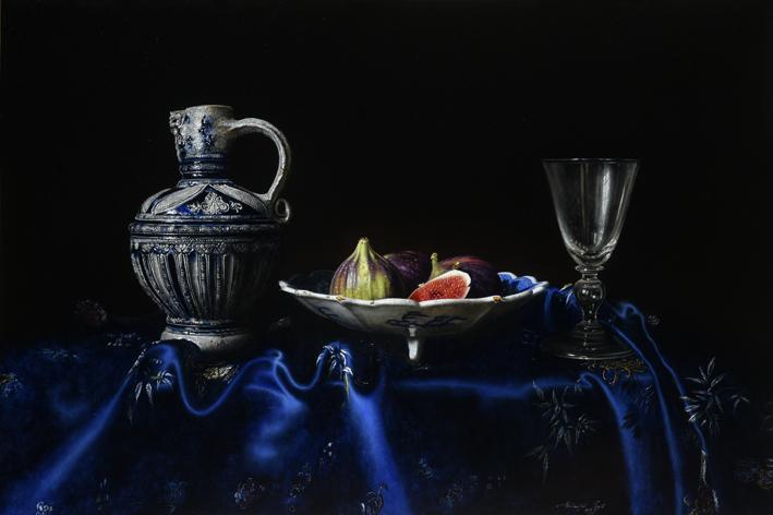 Walter Elst, 'Vijgen na Pasen', olieverf op paneel, 43 x 64,5