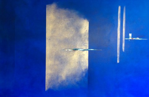Paula Evers, 'Composition in blue', Acryl on linen