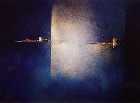 Paula Evers, ´Composition in blue´, 2017, acryl op doek, 100 x 120 cm