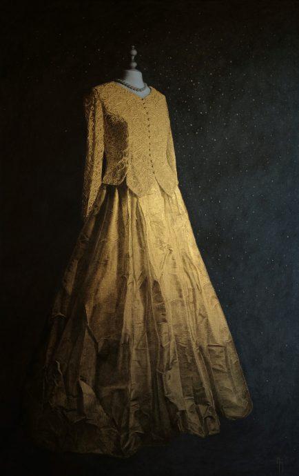 Meg den Hartogh, 'Voor het Feest', bladgoud, acryl op linnen
