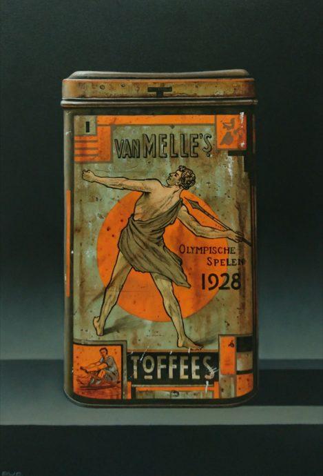 Robert Daalmeijer, 'Amsterdam toffees', olieverf op paneel, 27 x 40 cm