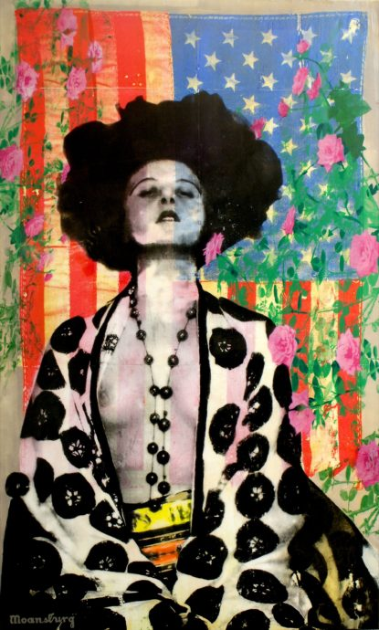 Crail Moansburg, 'Anita's Roses', gemengde technieken op doek, 230 x 140 cm
