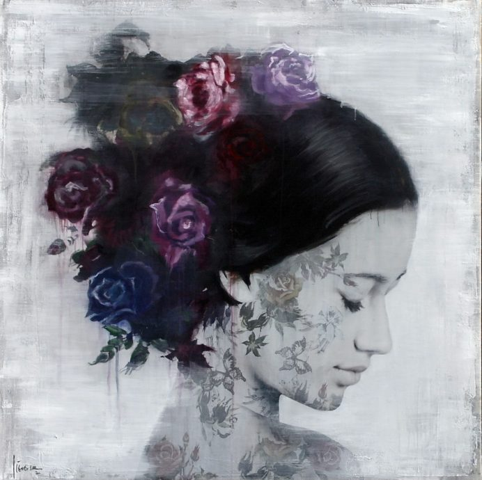 Atelier Lieverse, 'Lara', gemengde technieken op doek, 140 x 140 cm