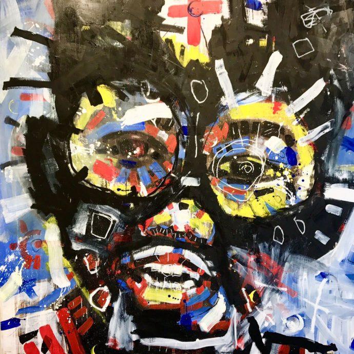 Niels Ballemans, 'Freddy', acryl op linnen, 180 x 180 cm