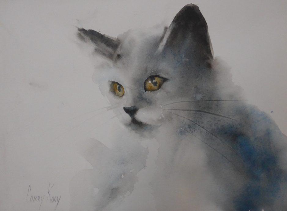 Corry Kooi, 'Poes', 35 x 45 cm, Aquarel