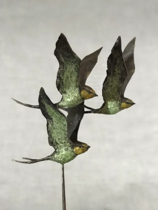 Hans Jouta, 'Three Swallows', bronze