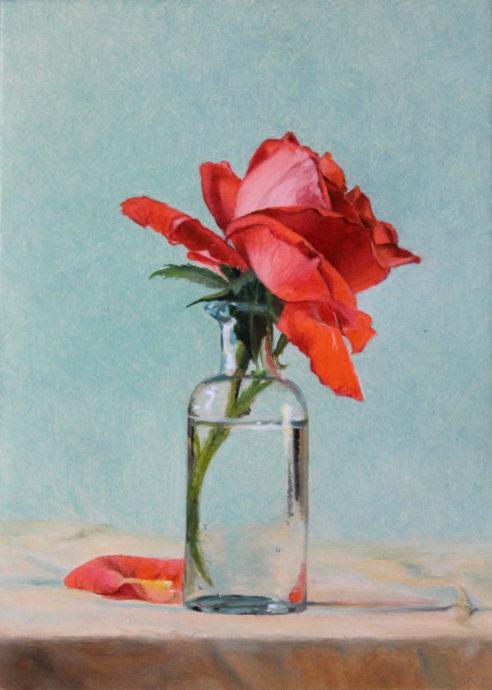 Natascha van den Berg, 'Rozenwatertje', olie op paneel, 14 x 10 cm, 2018