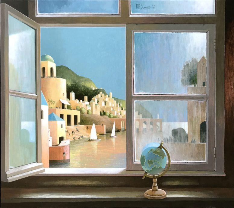Michiel Schrijver, 'de wereld is groot', acryl op doek, 80 x 90 cm