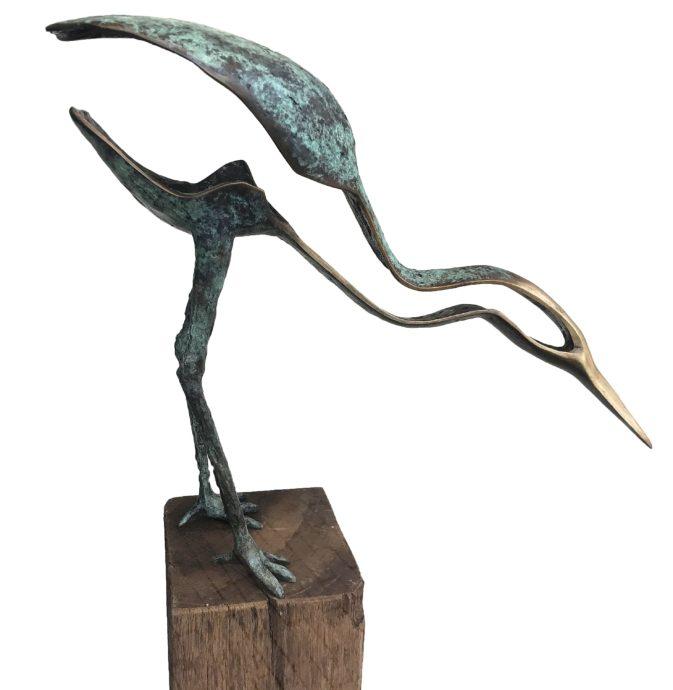 Leon Veerman, 'oefening in geduld', brons, 42 cm hoog