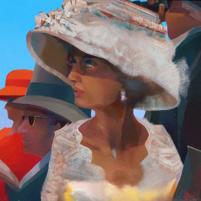 Ton Dubbeldam, 'Scarlet @ Ascot', olieverf op paneel, 45 x 45 cm