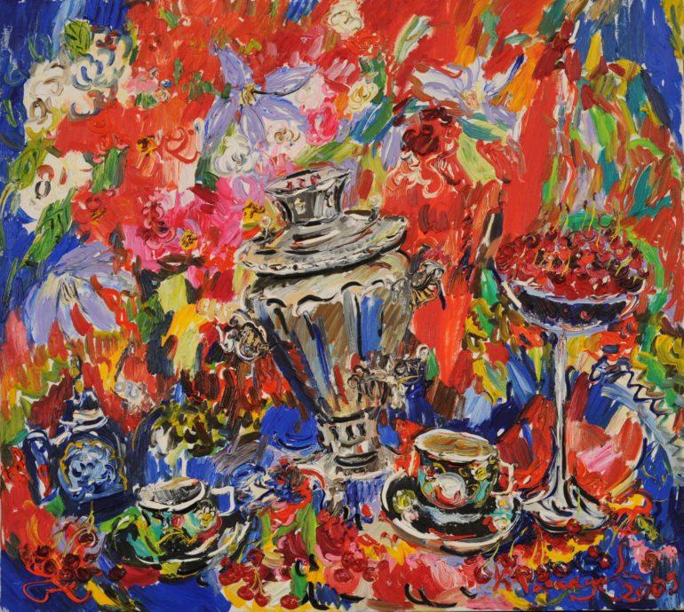 Ksenia Tarakanova, 'Stilleven met kersen', 2009, olieverf op doek, 85 x 95 cm