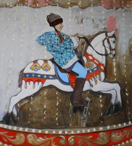 Olga Grigorieva, 'Caroussel', 2012, olieverf op doek, 110 x 100 cm