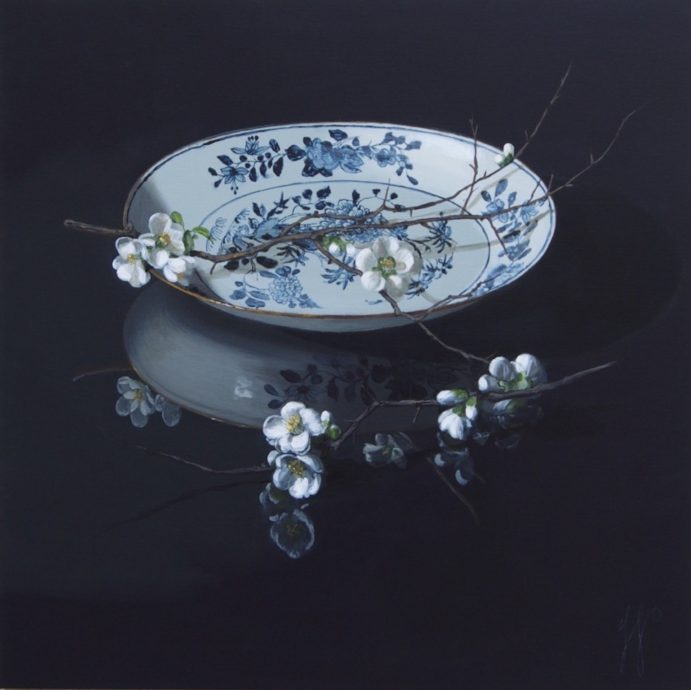 Sasja Wagenaar, 'Japans Schaaltje met Kersenbloesem', acrylopdoek, 100 x 100 cm