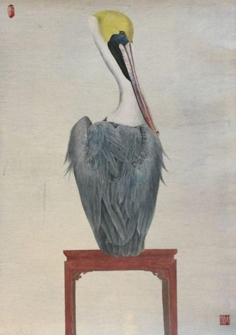 Jia Zhou, 'pelikaan', chinese inkt en kleur op rijstpapier, 91  61 cm