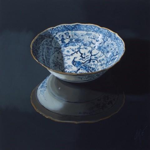 Sasja Wagenaar - Chinese schaal in het donker, Acrylic on canvas, 100 x 100 cm