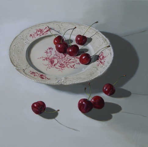 Sasja Wagenaar - Kersen op een bord, Acrylic on canvas, 100 x 100 cm
