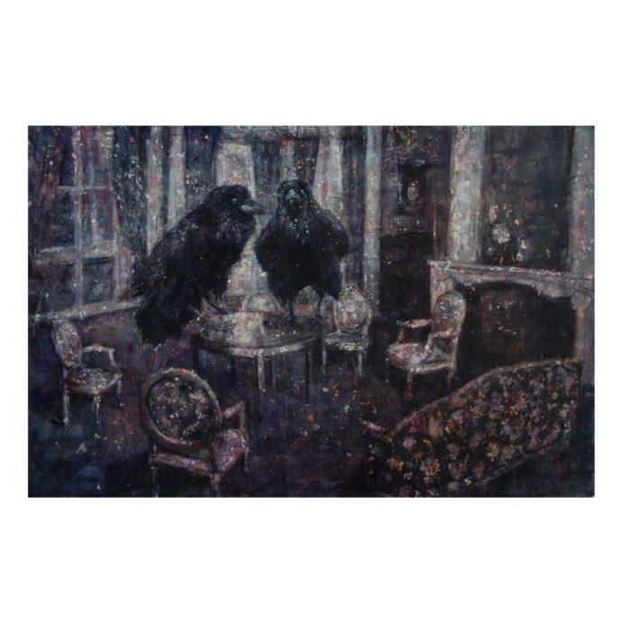 Hanneke Naterop, ' visitors', olie op doek, 80 x 120 cm