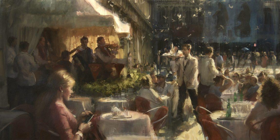 Simon Pasini, 'Caffe Venezia', olieverf op doek, 75 x 150 cm