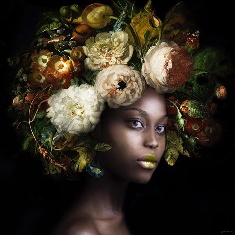 Yvonne Michiels - Fading Flowers Olive, Fotografie, 120 x 120 cm