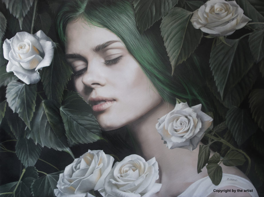 Brita Seifert, 'Time of Roses', pastel colored pencil, 60 x 80 cm