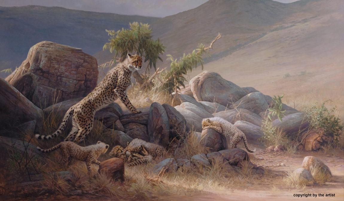 Dick van Heerde, 'Cheetah met cubs', olieverf op doek, 140 x 200 cm