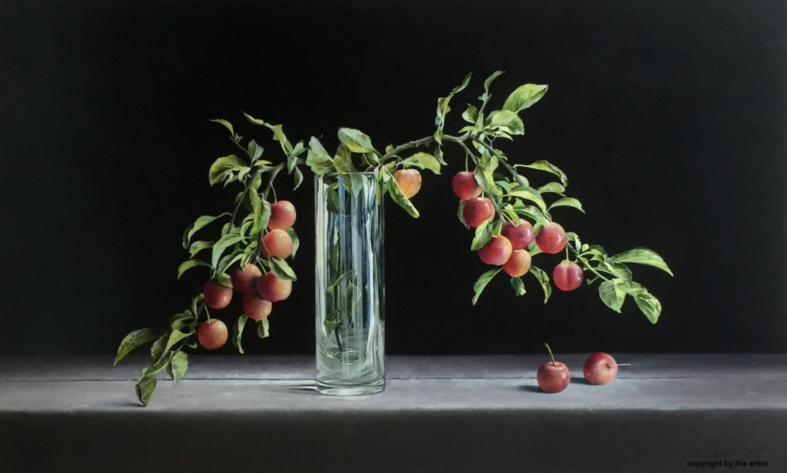 Jan Kootstra, 'Plums in a glass vase', oil on panel, 60 x 100 cm