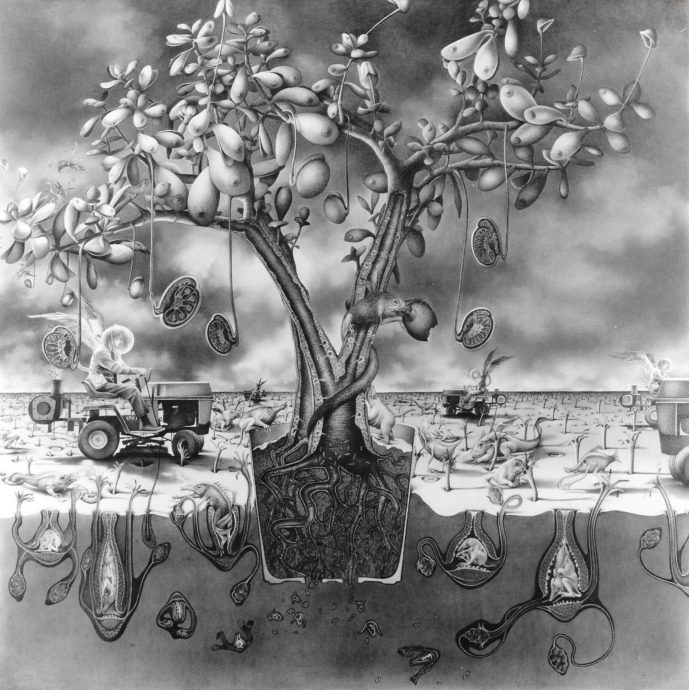 Annemarie Busschers, 'De Levensboom', pastel en potlood, 100 x 100 cm