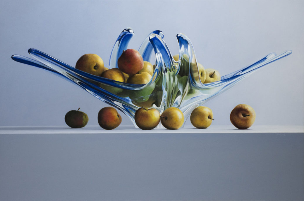 Marc van Crombrugge, 'A poor man's apple', olieverf op paneel, 60 x 90 cm