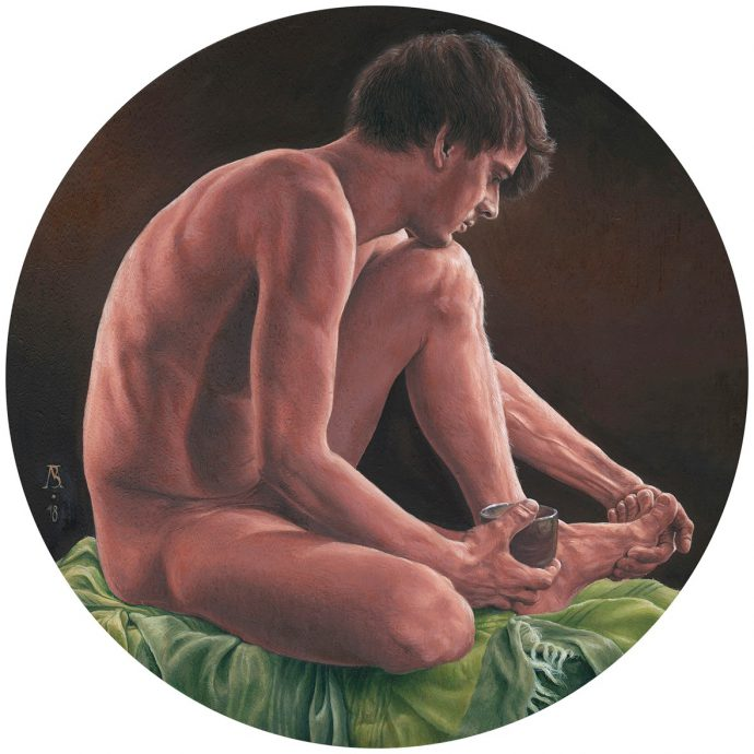 Bart Mertens, 'Matthieu La Coupe', oil on oak panel, Ø 29,7 cm, 2018