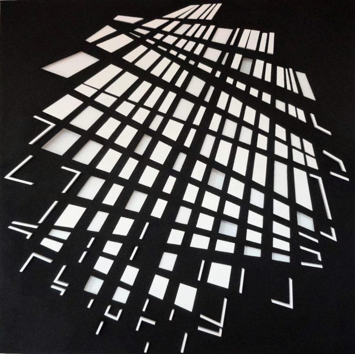 Theo Schouten, 'Crossroads', kunststofplaat en linnen, 80 x 80 cm