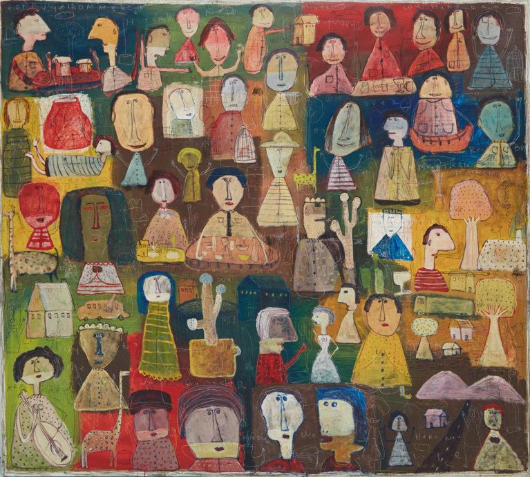 Indra Dodi, 'Colours of Face', 2015, acryl op doek, 180 x 200 cm