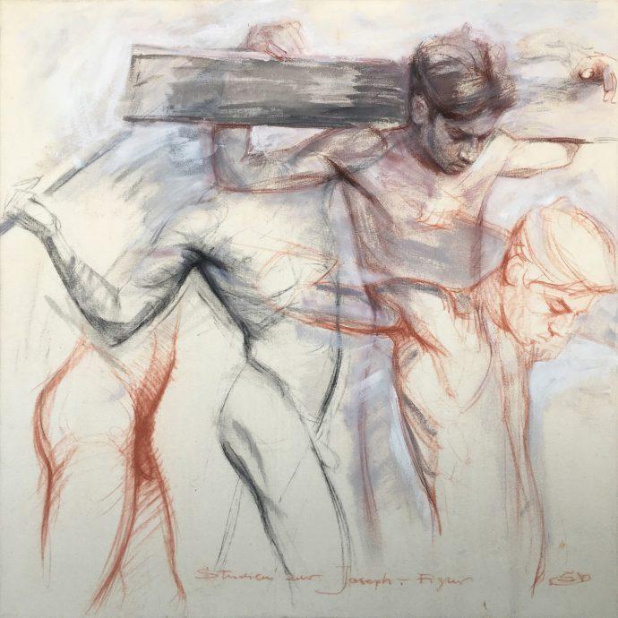 Sacrevoir, Studien zur Joseph-figur, oil on canvas, 100 x 100 cm, ± 2003