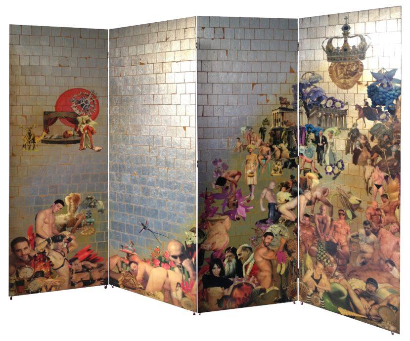 Norbert Münzer, 'Der Mond über Soho',  Collage op paneel, olieverf, bladgoud en lack 4 delen, elk 180 x 60 cm