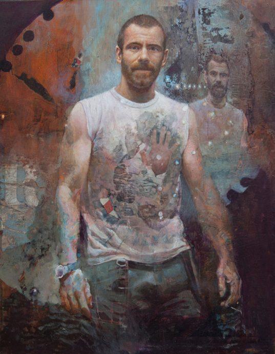 Rob de Lange, 'De timmerman', 2017, acryl en collage op paneel, 45 x 35 cm