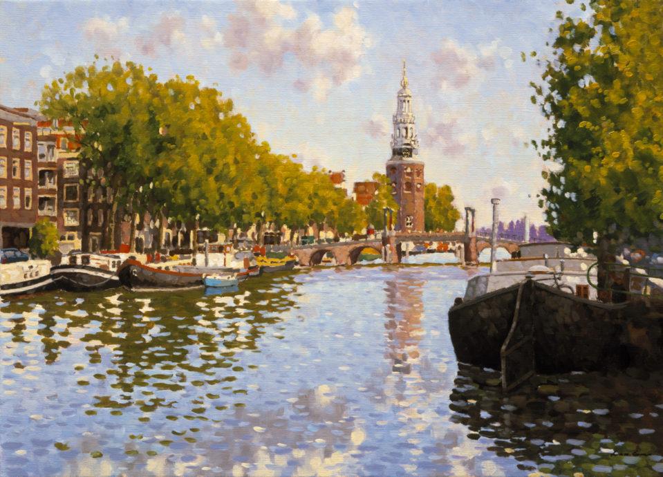 Leo van den Ende, 'Montelbaanstoren Amsterdam', olieverf op doek, 50 x 70 cm