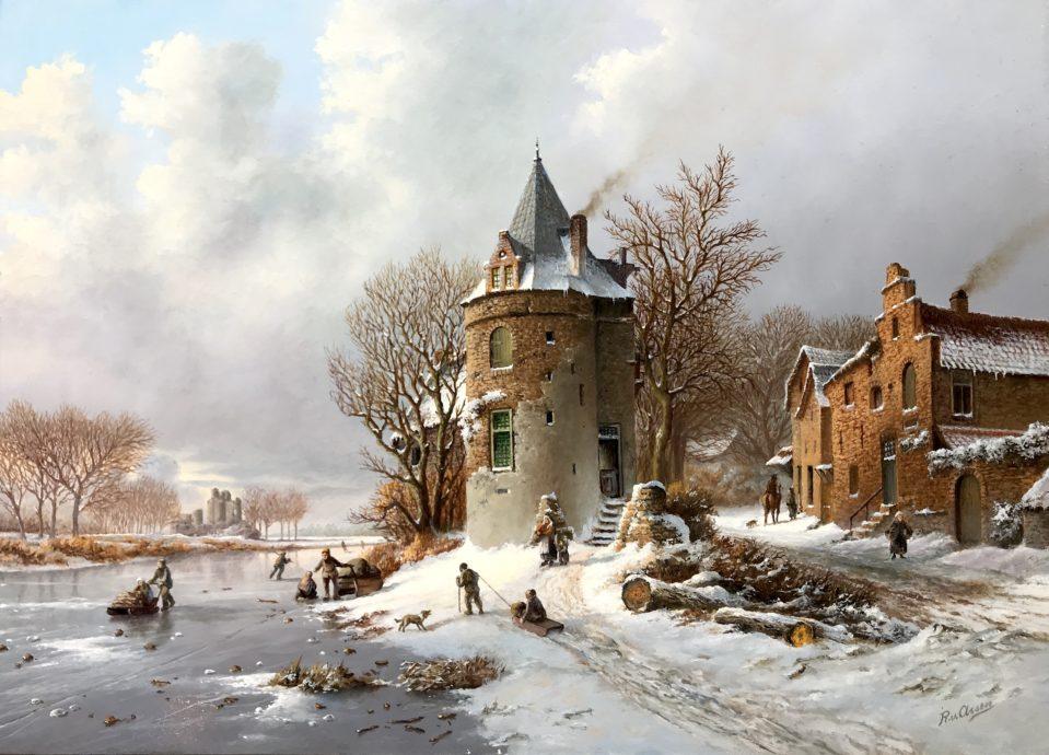 Rob van Assen, 'Toren langs bevroren gracht', olieverf op paneel, 39 x 54 cm