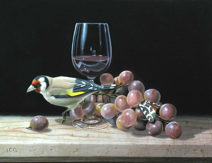 Vécu, 'L'écaille, le chardonneret et la grappe de raisin', Olieverf op doek, 35 x 27 cm.