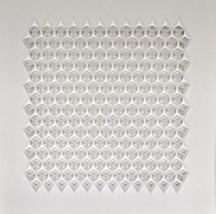 Herman Coppus, 'zonder titel', papierrelief, 100 x 100 cm