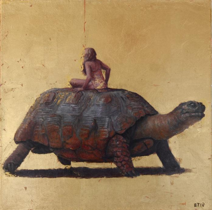Erik Tierolf, 'Turtle', olieverf op linnen, 30x30 cm