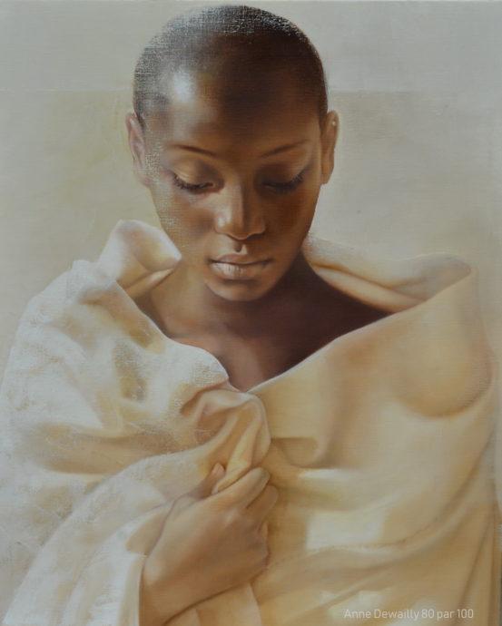 Anne Dewailly, 'Sur ton cœur', Oil on canvas,  80 x 100 cm, 2018