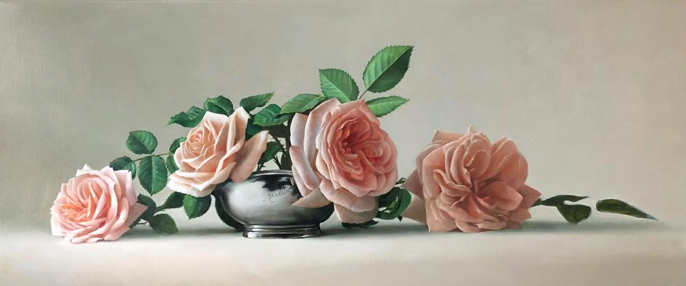 Pieter Wagemans, 'Laatste tuinroezen', olieverf op doek, 120 x 50 cm