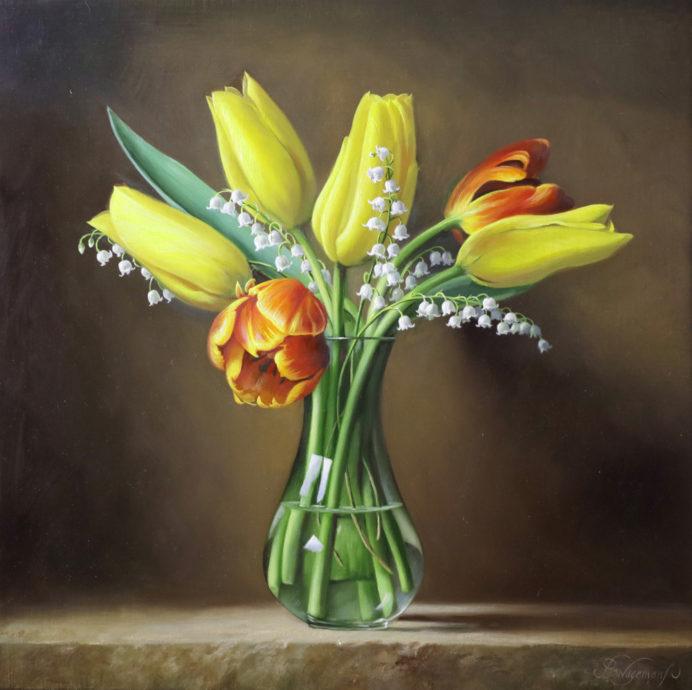 Pieter Wagemans, 'Lente harmonie', olieverf op doek, 30 x 30 cm