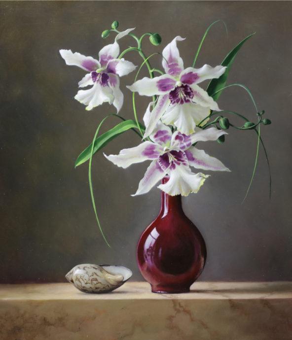 Pieter Wagemans, 'Miltonia', olieverf op paneel, 30 x 40 cm