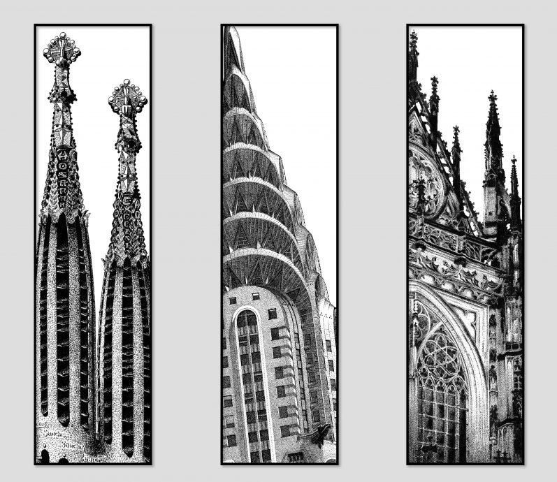 Buildings. Drieluik Sagrada Familia; Chrysler Building; SintJans Kathedraal. Respectievelijk 1992; 2019 en 2020. Certified Art Print. Oplage 9 (voor elk deel van het drieluik) 50x150 cm.
