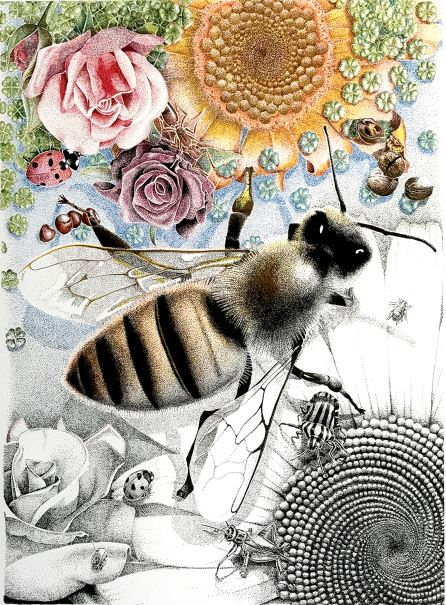Bij met bloemen. 2017 (origineel). Certified Art Print. Oplage 20, 45cmx65cm. Oplage 10, 75x105 cm.
