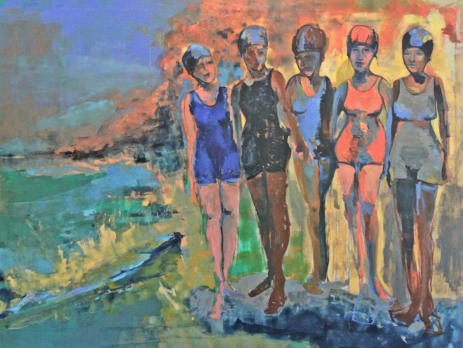 Gaïd Ombre. Ladies on the beach.