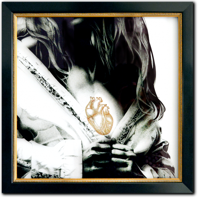 Hans Gilbers. Heart Of Gold nr 01, 2021. Stipkunst, zwart-wit op museumglas. Het hart met goudpigment en goudstof, eveneens stipkunst. 58 x 58 x 3 cm.