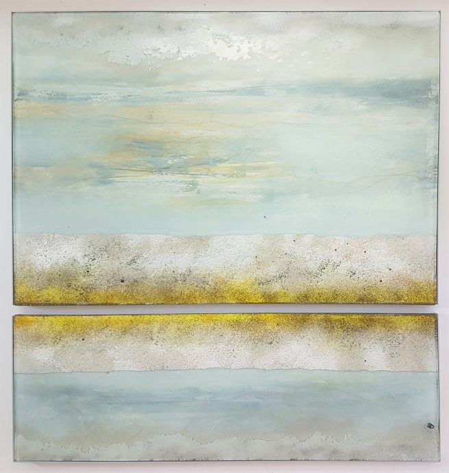 Ingrid Capozzi. Galerie Martin Copier. Glas en olieverf. 65 x 65 cm. €1150,-