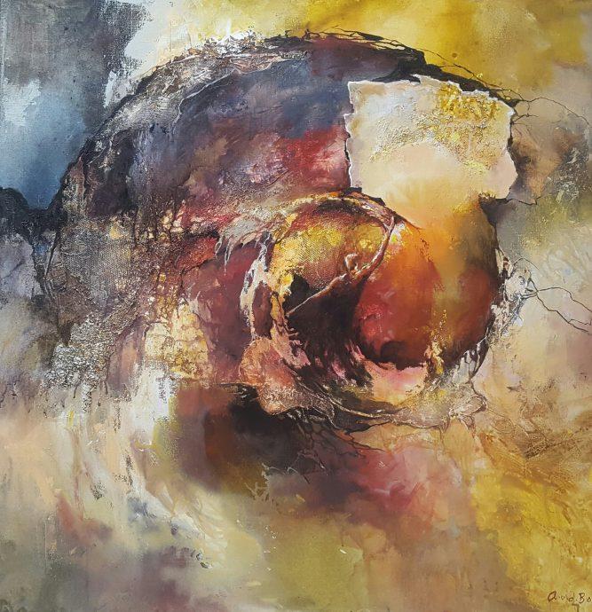 Angelique van den Born. Abstract chaos 1. Acryl op doek.  100 x 100 cm.